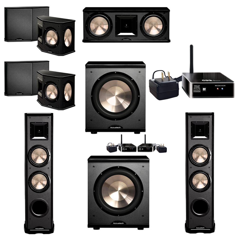 BIC Acoustech 5.2 System with 2 PL-89 II Floorstanding Speakers, 1 PL-28 II Center Speaker, 2 PL-66 Surround Speakers, 1 PL-200 Wireless Subwoofer, 1 PL-200 Subwoofer, 1 Wireless Receiver Add on