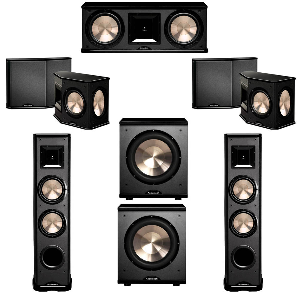 BIC Acoustech 5.2 System with 2 PL-89 II Floorstanding Speakers, 1 PL-28 II Center Speaker, 2 PL-66 Surround Speakers, 2 PL-200 Subwoofer