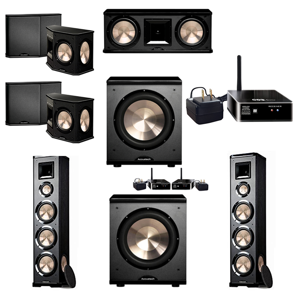 BIC Acoustech 5.2 System with 2 PL-980 Floorstanding Speakers, 1 PL-28 II Center Speaker, 2 PL-66 Surround Speakers, 1 PL-200 Wireless Subwoofer, 1 PL-200 Subwoofer, 1 Wireless Receiver Add on