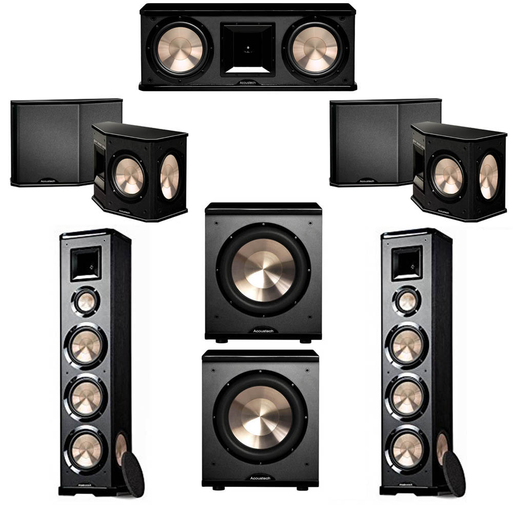 BIC Acoustech 5.2 System with 2 PL-980 Floorstanding Speakers, 1 PL-28 II Center Speaker, 2 PL-66 Surround Speakers, 2 PL-200 Subwoofer
