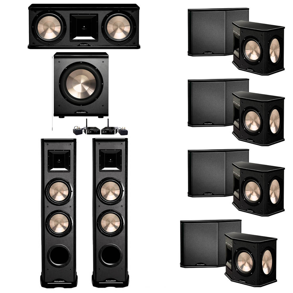 BIC Acoustech 7.1 System with 2 PL-89 II Floorstanding Speakers, 1 PL-28 II Center Speaker, 4 PL-66 Surround Speakers, 1 PL-200 Wireless Subwoofer