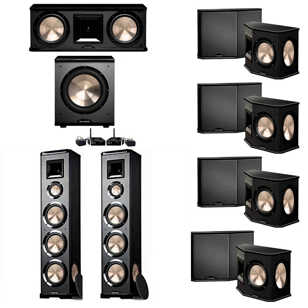 BIC Acoustech 7.1 System with 2 PL-980 Floorstanding Speakers, 1 PL-28 II Center Speaker, 4 PL-66 Surround Speakers, 1 PL-200 Wireless Subwoofer