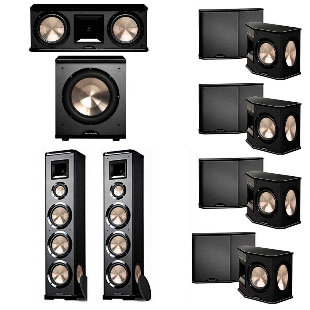 BIC Acoustech 7.1 System with 2 PL-980 Floorstanding Speakers, 1 PL-28 II Center Speaker, 4 PL-66 Surround Speakers, 1 PL-200 Subwoofer