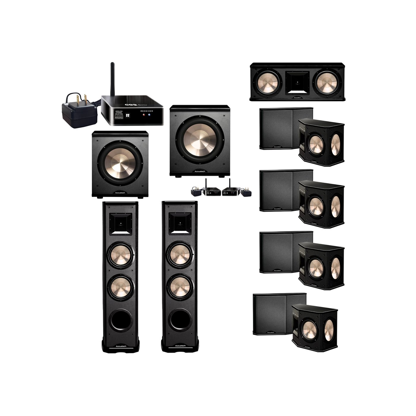 BIC Acoustech 7.2 System with 2 PL-89 II Floorstanding Speakers, 1 PL-28 II Center Speaker, 4 PL-66 Surround Speakers, 1 PL-200 Wireless Subwoofer, 1 PL-200 Subwoofer, 2 Wireless Receiver Add on