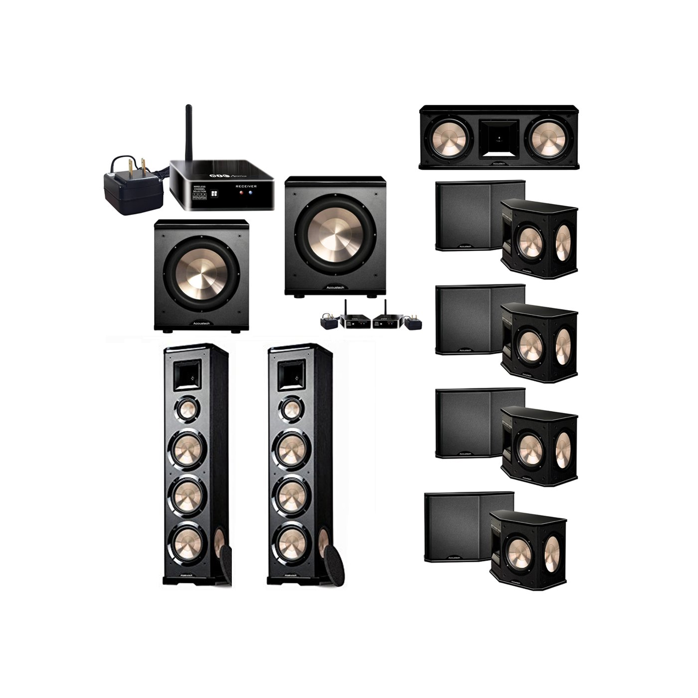 BIC Acoustech 7.2 System with 2 PL-980 Floorstanding Speakers, 1 PL-28 II Center Speaker, 4 PL-66 Surround Speakers, 1 PL-200 Wireless Subwoofer, 1 PL-200 Subwoofer, 2 Wireless Receiver Add on