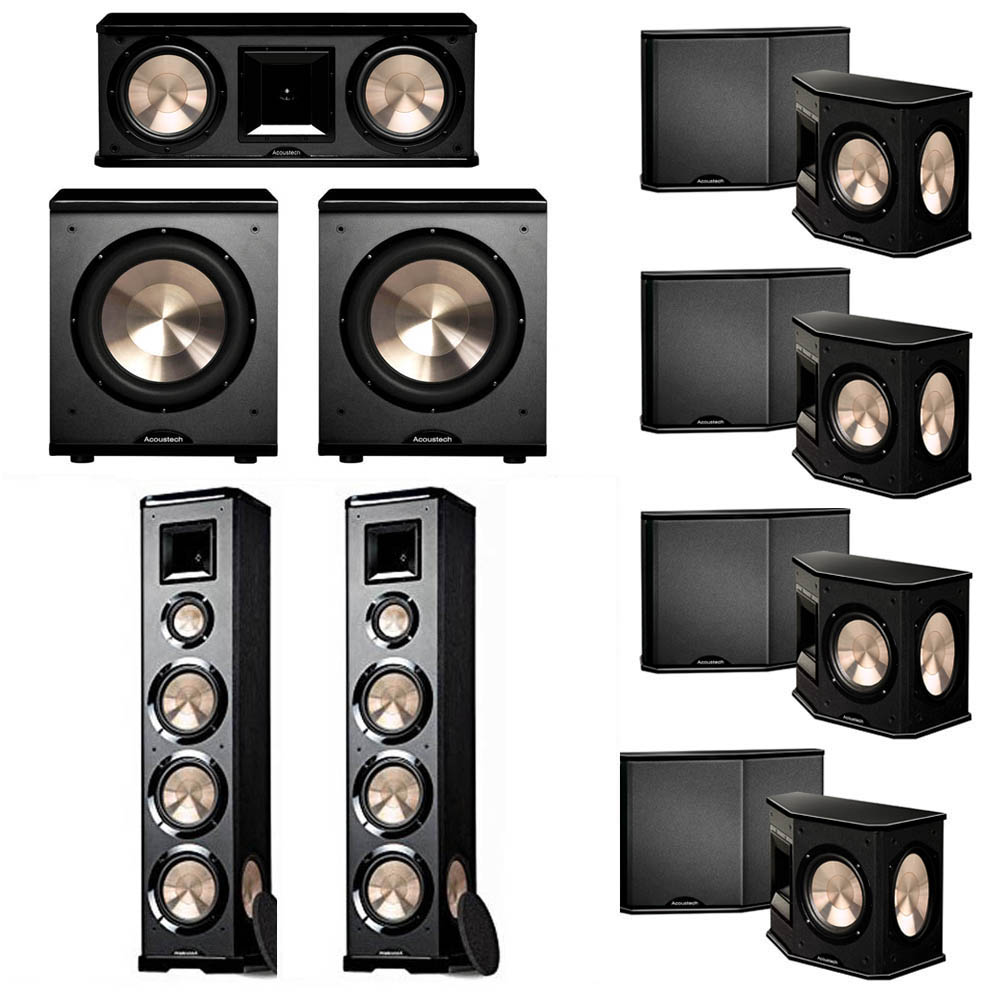 BIC Acoustech 7.2 System with 2 PL-980 Floorstanding Speakers, 1 PL-28 II Center Speaker, 4 PL-66 Surround Speakers, 2 PL-200 Subwoofer