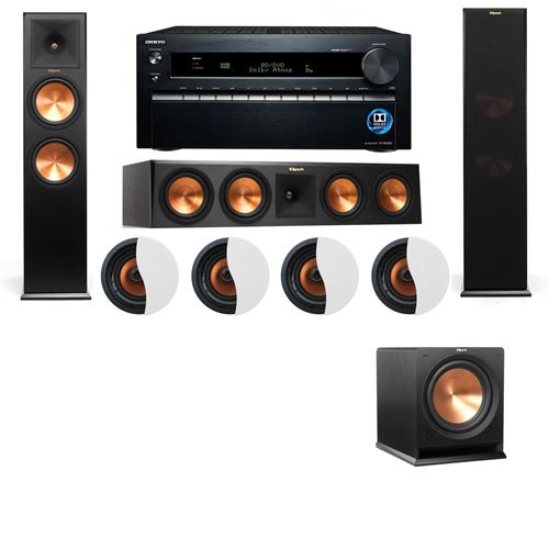 Dolby Atmos 3.1.4 Klipsch RP-280F Tower Speakers R112SW with Onkyo TX-NR1030