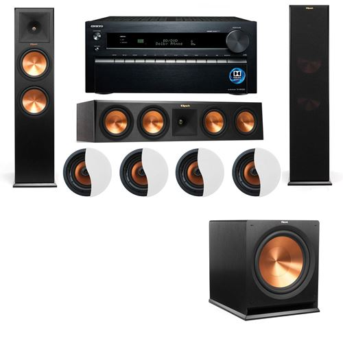 Dolby Atmos 3.1.4 Klipsch RP-280F Tower Speakers w/ R-115SW and Onkyo TX-NR1030