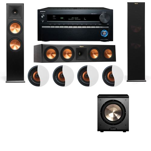 Dolby Atmos 3.1.4 Klipsch RP-280F Tower Speakers PL-200 with Onkyo TX-NR1030