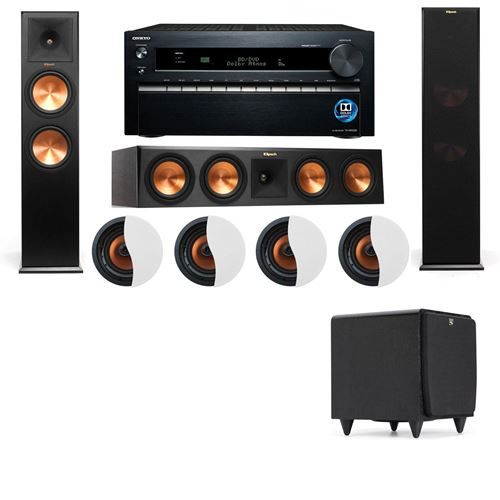 Dolby Atmos 3.1.4 Klipsch RP-280F Tower Speakers SDS12 with Onkyo TX-NR1030