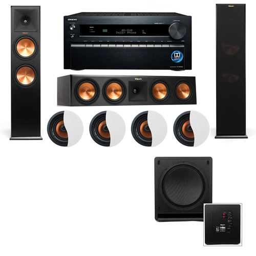 Dolby Atmos 3.1.4 Klipsch RP-280F Tower Speakers SW-112 with Onkyo TX-NR1030