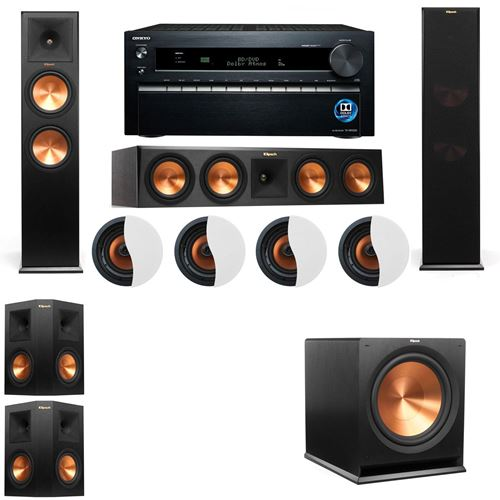 Dolby Atmos 5.1.4 Klipsch RP-280F Tower Speakers R-115SW with Onkyo TX-NR1030