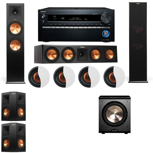 Dolby Atmos 5.1.4 Klipsch RP-280F Tower Speakers PL-200 with Onkyo TX-NR1030