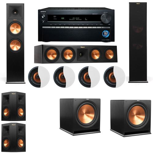 Dolby Atmos 5.2.4 Klipsch RP-280F Tower Speakers R115SW with Onkyo TX-NR1030