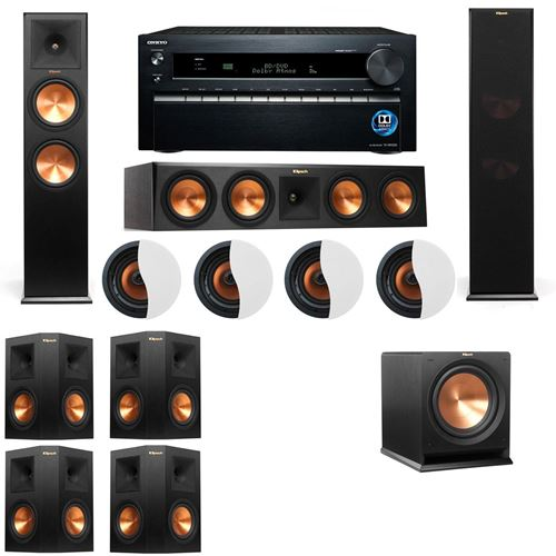 Dolby Atmos 7.1.4 Klipsch RP-280F Tower Speakers R112SW with Onkyo TX-NR1030