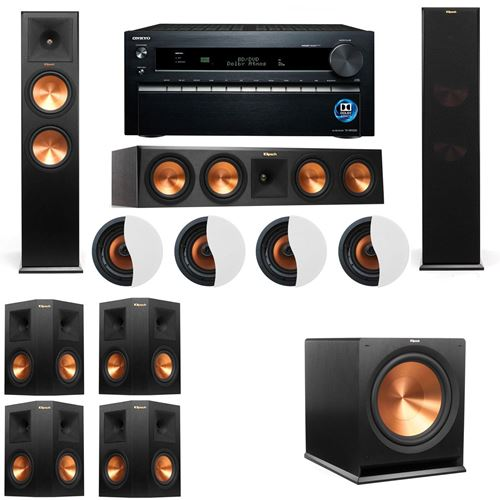 Dolby Atmos 7.1.4 Klipsch RP-280F Tower Speakers R115SW with Onkyo TX-NR1030