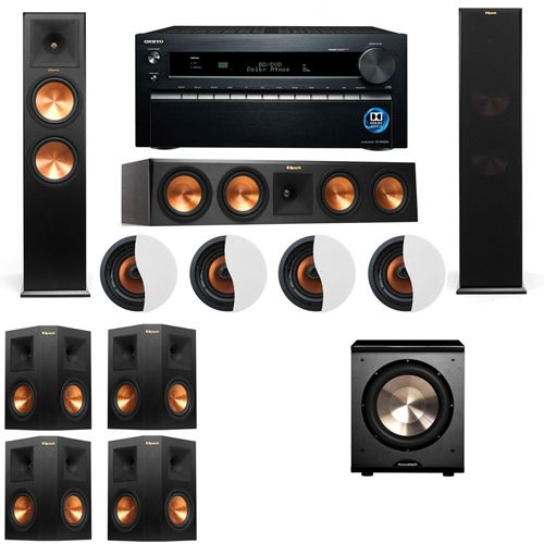 Dolby Atmos 7.1.4 Klipsch RP-280F Tower Speakers-PL-200 with Onkyo TX-NR1030