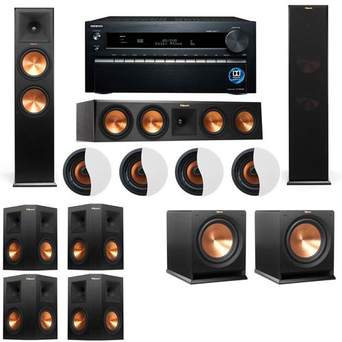 Dolby Atmos 7.2.4 Klipsch RP-280F Tower Speakers R112SW with Onkyo TX-NR1030