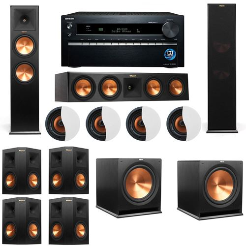 Dolby Atmos 7.2.4 Klipsch RP-280F Tower Speakers R115SW with Onkyo TX-NR1030
