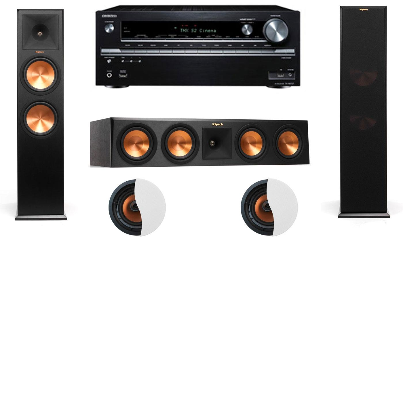 Dolby Atmos 3.0.2 Klipsch RP-280F Tower Speakers with Onkyo TX-NR838