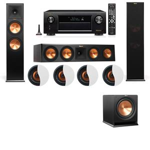 Dolby Atmos 3.1.4 Klipsch RP-280F Tower Speakers R112SW with Denon AVR-X3200W