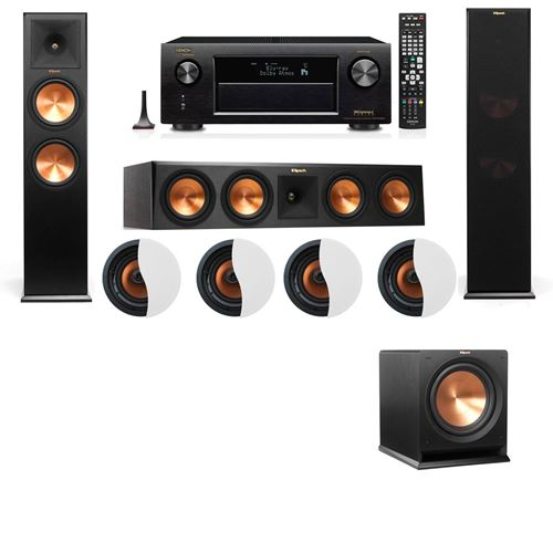 Dolby Atmos 3.1.4 Klipsch RP-280F Tower Speakers R112SW with Denon AVR-X4100W