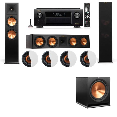 Dolby Atmos 3.1.4 Klipsch RP-280F Tower Speakers R115SW with Denon AVR-X4100W