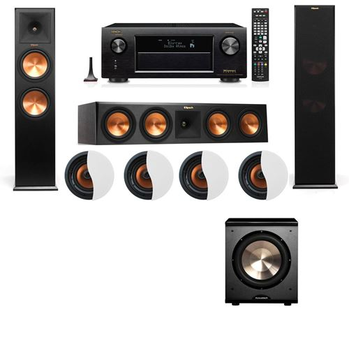 Dolby Atmos 3.1.4 Klipsch RP-280F Tower Speakers PL-200 with Denon AVR-X4100W
