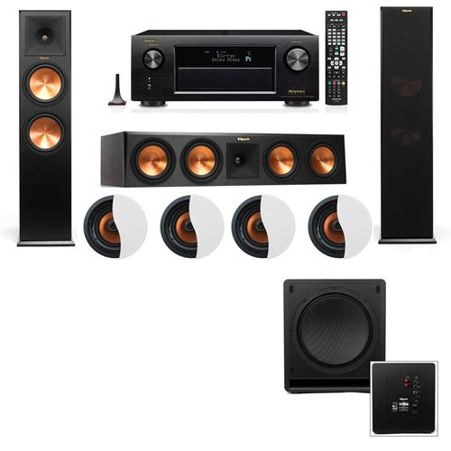 Dolby Atmos 3.1.4 Klipsch RP-280F Tower Speakers SW-112 with Denon AVR-X4100W