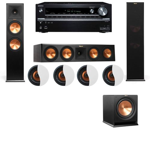 Dolby Atmos 3.1.4 Klipsch RP-280F Tower Speakers R112SW with Onkyo TX-NR838
