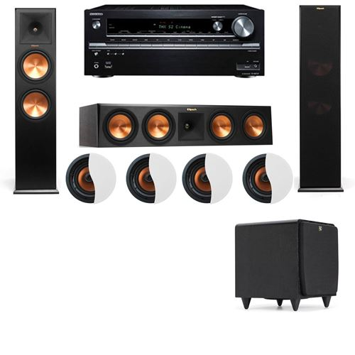 Dolby Atmos 3.1.4 Klipsch RP-280F Tower Speakers SDS12 with Onkyo TX-NR838