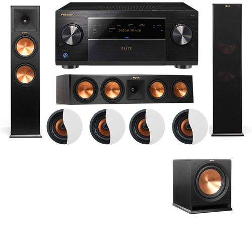 Dolby Atmos 3.1.4 Klipsch RP-280F Tower Speakers R112SW with Pioneer Elite SC-85