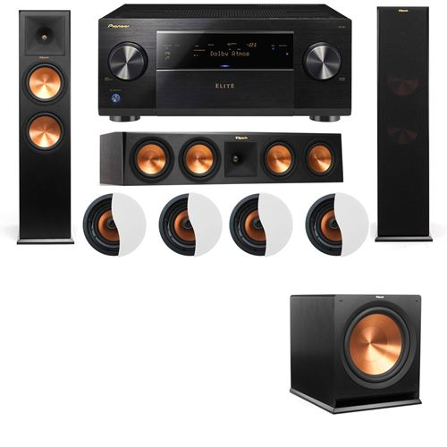 Dolby Atmos 3.1.4 Klipsch RP-280F Tower Speakers R115SW and Pioneer Elite SC-85