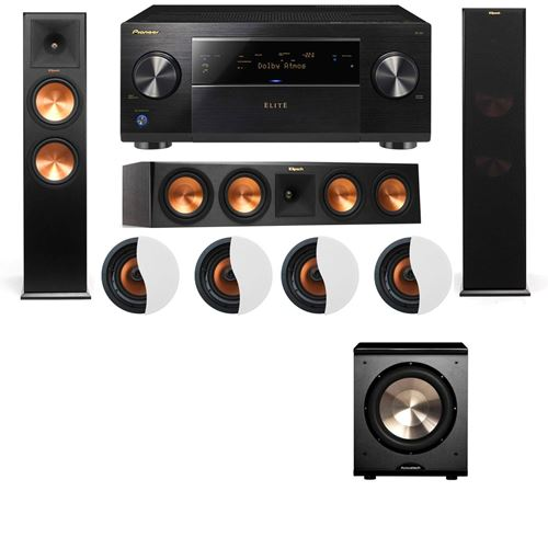 Dolby Atmos 3.1.4 Klipsch RP-280F Tower Speakers PL-200 with Pioneer Elite SC-85