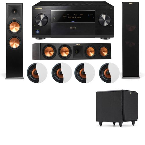 Dolby Atmos 3.1.4 Klipsch RP-280F Tower Speakers SDS12 with Pioneer Elite SC-85