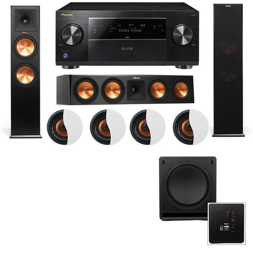 Dolby Atmos 3.1.4 Klipsch RP-280F Tower Speakers SW-112 with Pioneer Elite SC-85
