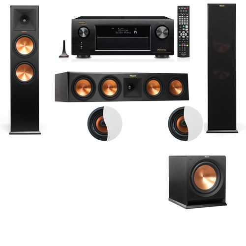 Dolby Atmos 3.1.2 Klipsch RP-280F Tower Speakers R112SW with Denon AVR-X4100W