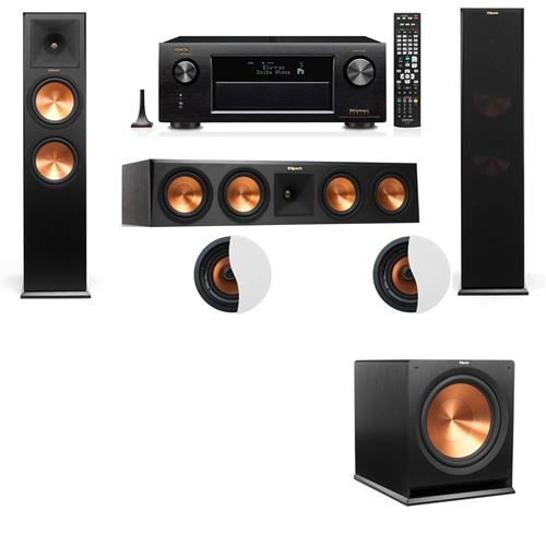 Dolby Atmos 3.1.2 Klipsch RP-280F Tower Speakers R115SW with Denon AVR-X4100W