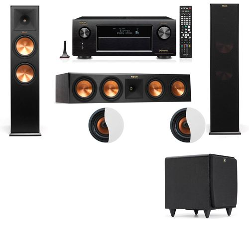 Dolby Atmos 3.1.2 Klipsch RP-280F Tower Speakers SDS12 with Denon AVR-X4100W