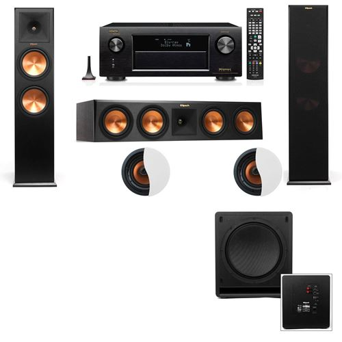 Dolby Atmos 3.1.2 Klipsch RP-280F Tower Speakers SW-112 with Denon AVR-X4100W