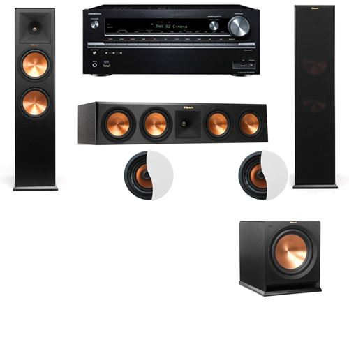 Dolby Atmos 3.1.2 Klipsch RP-280F Tower Speakers R112SW with Onkyo TX-NR838