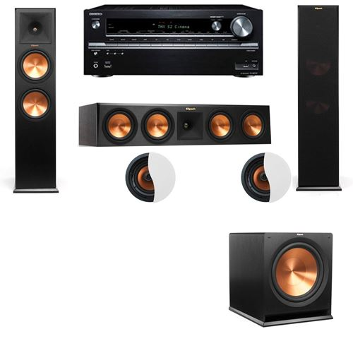 Dolby Atmos 3.1.2 Klipsch RP-280F Tower Speakers with R-115SW and Onkyo TX-NR838