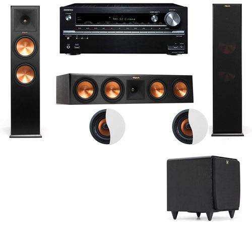 Dolby Atmos 3.1.2 Klipsch RP-280F Tower Speakers SDS12 with Onkyo TX-NR838