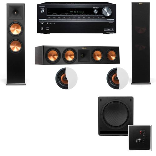 Dolby Atmos 3.1.2 Klipsch RP-280F Tower Speakers SW-112 with Onkyo TX-NR838