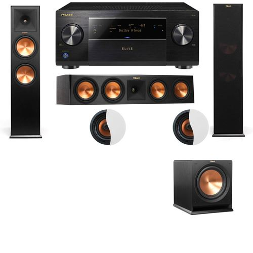 Dolby Atmos 3.1.2 Klipsch RP-280F Tower Speakers R112SW with Pioneer Elite SC-85