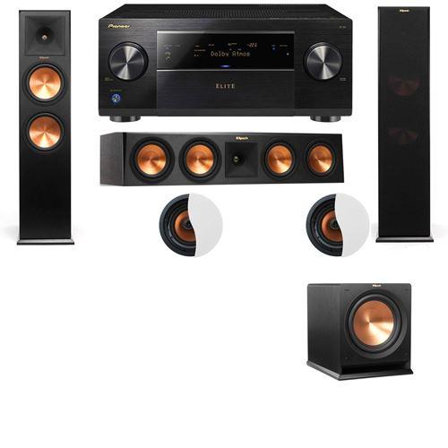 Dolby Atmos 3.1.2 Klipsch RP-280F Tower Speakers R112SW with Pioneer Elite SC-85