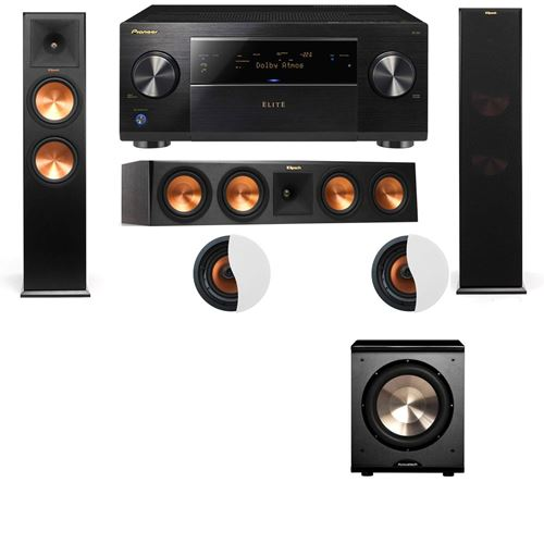 Dolby Atmos 3.1.2 Klipsch RP-280F Tower Speakers PL-200 with Pioneer Elite SC-85