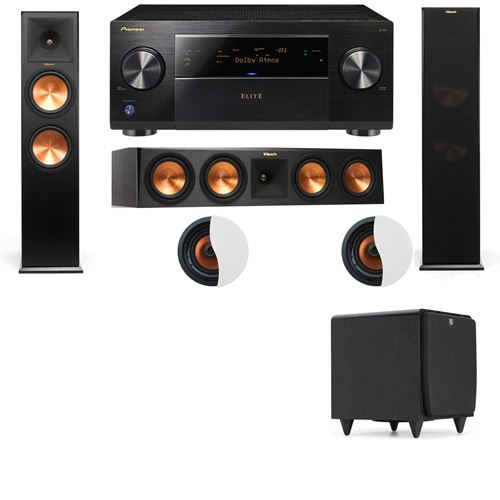 Dolby Atmos 3.1.2 Klipsch RP-280F Tower Speakers SDS12 with Pioneer Elite SC-85