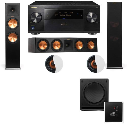 Dolby Atmos 3.1.2 Klipsch RP-280F Tower Speakers SW-112 with Pioneer Elite SC-85
