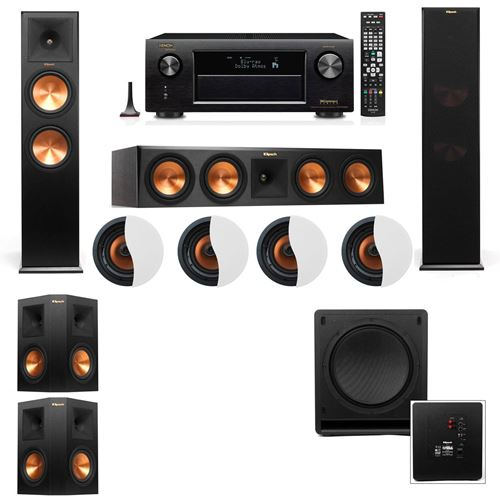 Dolby Atmos 5.1.4 Klipsch RP-280F Tower Speakers SW-112 with Denon AVR-X4100W